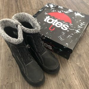 Totes Black Waterproof Winter Boots Size 9